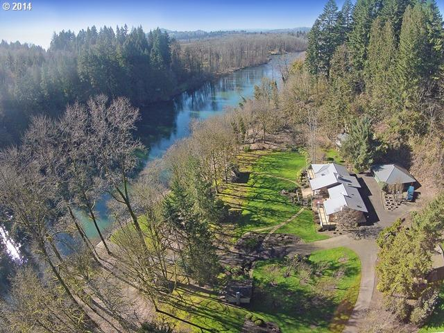 One-of-a-kind private retreat setting situated on 4.2 acres on the North Fork of the Lewis River.