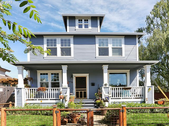 Old Pdx home built in 2009 with the charm of yesteryear and the modern features for today's buyers: 9 foot ceilings, bamboo floors, pocket doors and a gas FP.  Relax on the large front porch or have a BBQ on the deck in the side yard. You will fall in love with the large master suite with soaking tub, walk-in closet and dbl. sinks.  Close to Chief Joseph School, Arbor Lodge park and New Seasons Grocery. AC and recent exterior paint.