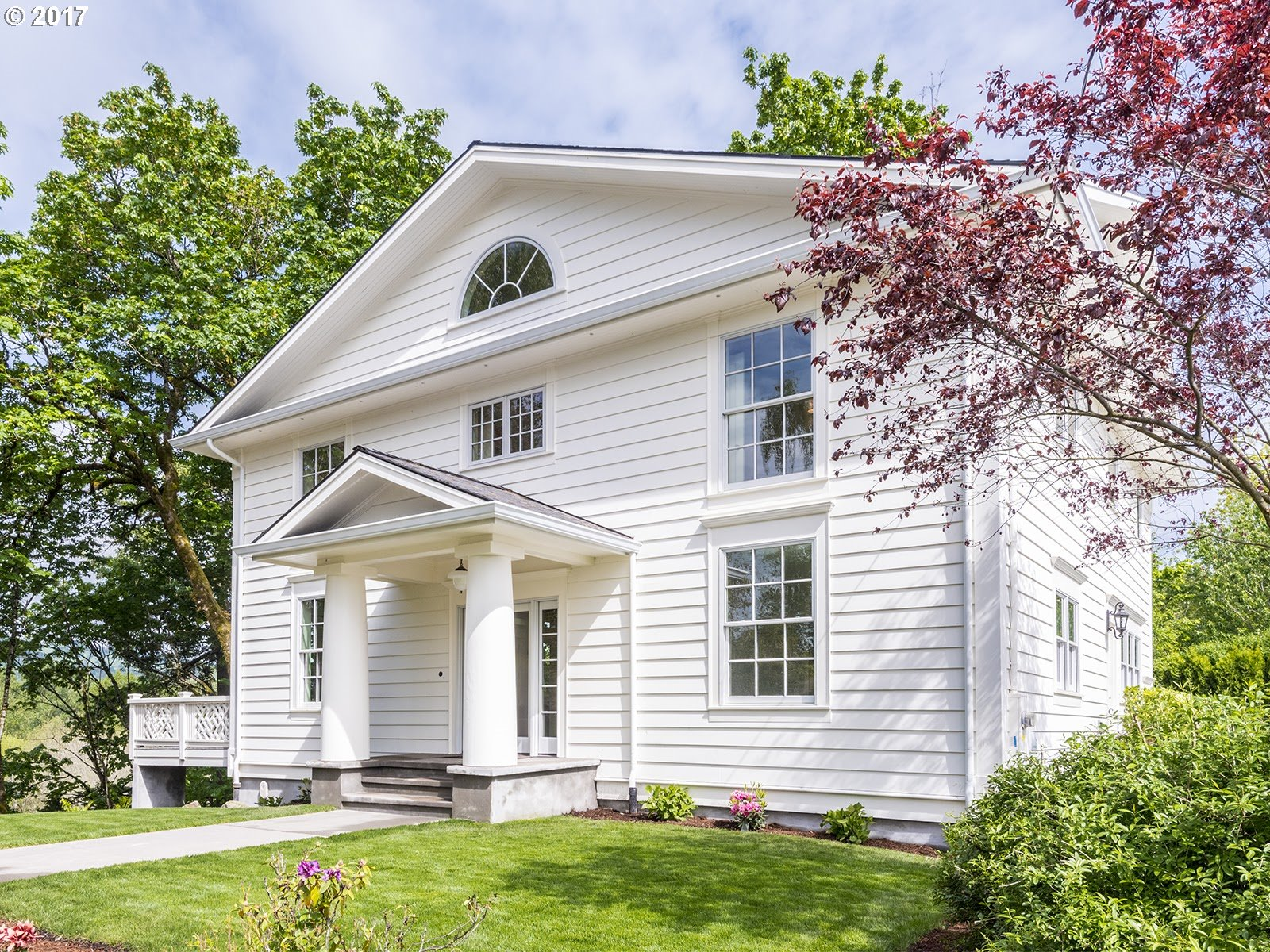 Gorgeous Greek Colonial overlooks 141 acres of serene and protected wildlife refuge,hiking and river views.Sleepy cul de sac completes quiet locale.2-story wall of windows and numerous skylights bathe house in natural light.Chefs kitchen,elegantly tiled Master Suite,kids beds with Jack and Jill bath,ground floor guest suite,thrilling views from deck and inside viewing platform.Exuberant Jeffersonian architecture.Once in a lifetime find