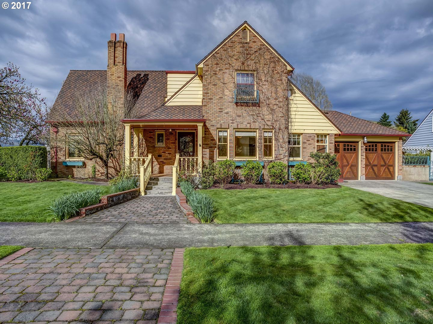 Classic Tudor.Possible contract. Huge corner lot.Up dated appliances,new floor in basement,oil tank decom.Hardwood Floors 1st & 2nd floor,mahogany wood work,2 patio areas +  deck.1 Family R on main, with blt in bookcase & slider to backyard. 1 Family Room in basement with a wet bar & fireplace. Wine cellar,15'x17'green House, shop. Too many amenities to list.LA is the owner