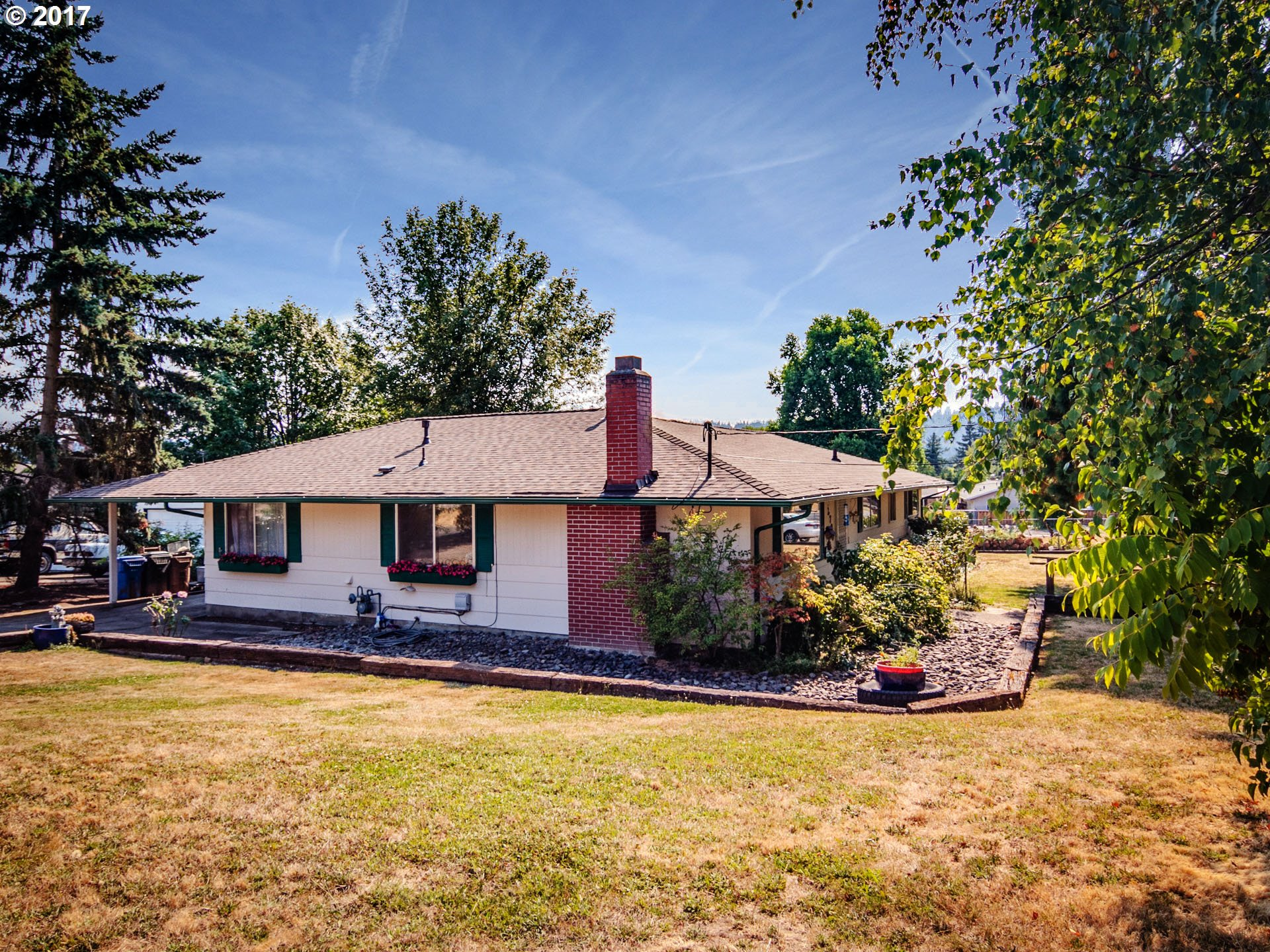 Remodeled 1904 sq. ft. Oak Grove Ranch on a Cul-de-sac! New roof and gutters 2017. Remodeled main bath and all new carpet 2017! Freshly painted interior. Potential for separate living quarters. Five bedrooms. Central Air! Big .23 acre fenced yard with mature trees, shed, deck and second driveway. Move-in-ready! A few blocks to Risely Park with playground, trails, sport court. A few blocks to McLoughlin shops and restaurants.