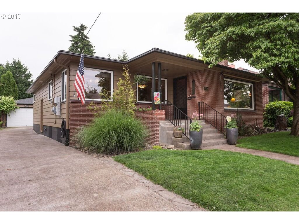 Hardwood floors, large living room with fireplace, dining room plus eating area in kitchen.  Awesome basement with high ceilings and separate entrance--ADU???? knotty pine family room with 2nd fireplace, bonus room, shop/storage galore. Solar electric with heat pump, leaf guard gutters. BACKYARD TOTALLY ROCKS with covered patio off double car garage.