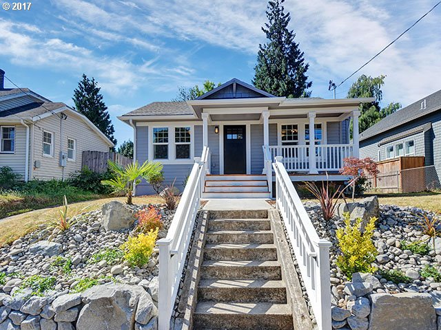 Beautiful 1924 Portland Bungalow re-built and brought into 2017 from the studs out. Every service and surfaced replaced, nothing untouched. New electrical service and all wiring; new sewer,water line, and all plumbing; fully insulated to code:new exterior siding; new 35-year roof; new high efficiency gas furnace and all new ductwork; Quartz countertops;engineered hardwoods throughout; large backyard and off-street and garage parking.