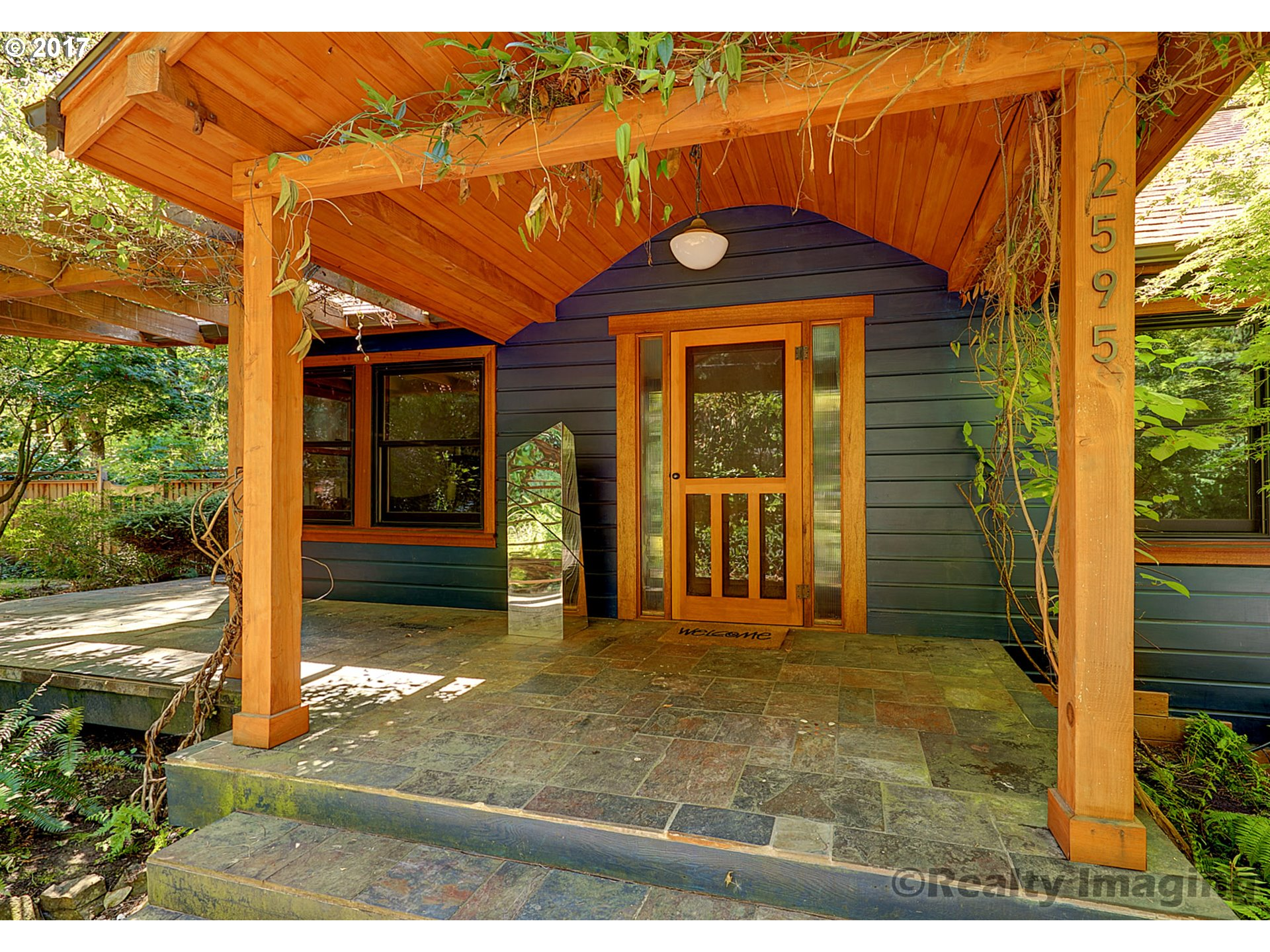This immaculate, quiet home down a private drive is simply magical. Completely renovated bathrooms and a professionally landscaped, gardener's fantasy in the way of a mature, lush yard that surrounds the home on 3 sides. Covered wrap-around slate&mahogany porches/decks.Wood fired outdoor pizza oven,Oregon Madrone floors throughout,custom chicken coop,tree house with suspension bridge are just a few of the exceptional features.