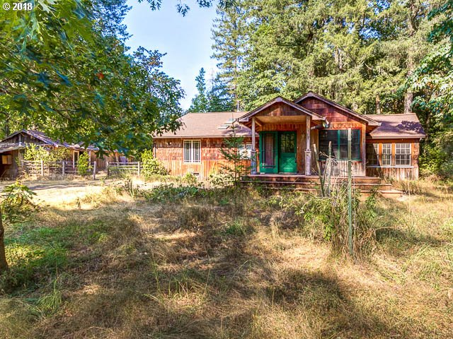 """Beautiful, park like setting with rustic cabin and a few small outbuildings. The land is mostly level and has towering fir trees. This is a great property offering a beautiful setting with a project house. Sold by Trustee """"As-Is."""""""