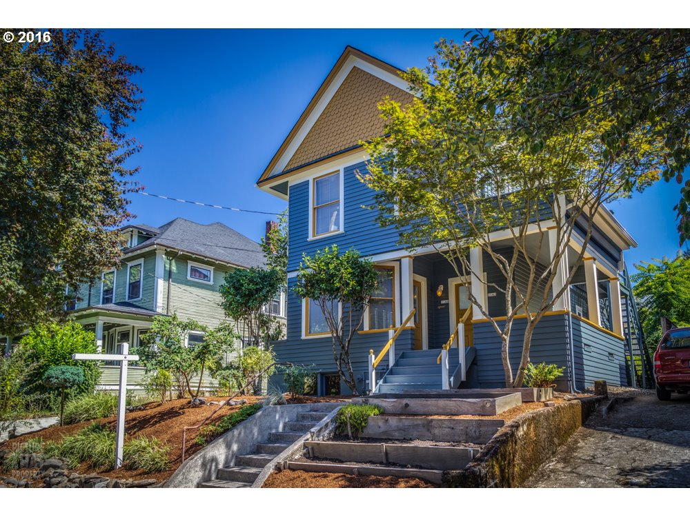 This Historic and stately Queen Anne Victorian was built by renowned builder George W. Gilson in the heart of the Irvington. Close to downtown via the Broadway Bridge and Northeast's hot spots (shops, parks, restaurants and stores). Current use is a duplex + Art/Photo Studio (great rental income). Features 2 living units while retaining much original charm. Convert back to single family home? Art studio w/ full bathroom. Bike Score: 99! [Home Energy Score = 1. HES Report at https://rpt.greenbuildingregistry.com/hes/OR10170927]