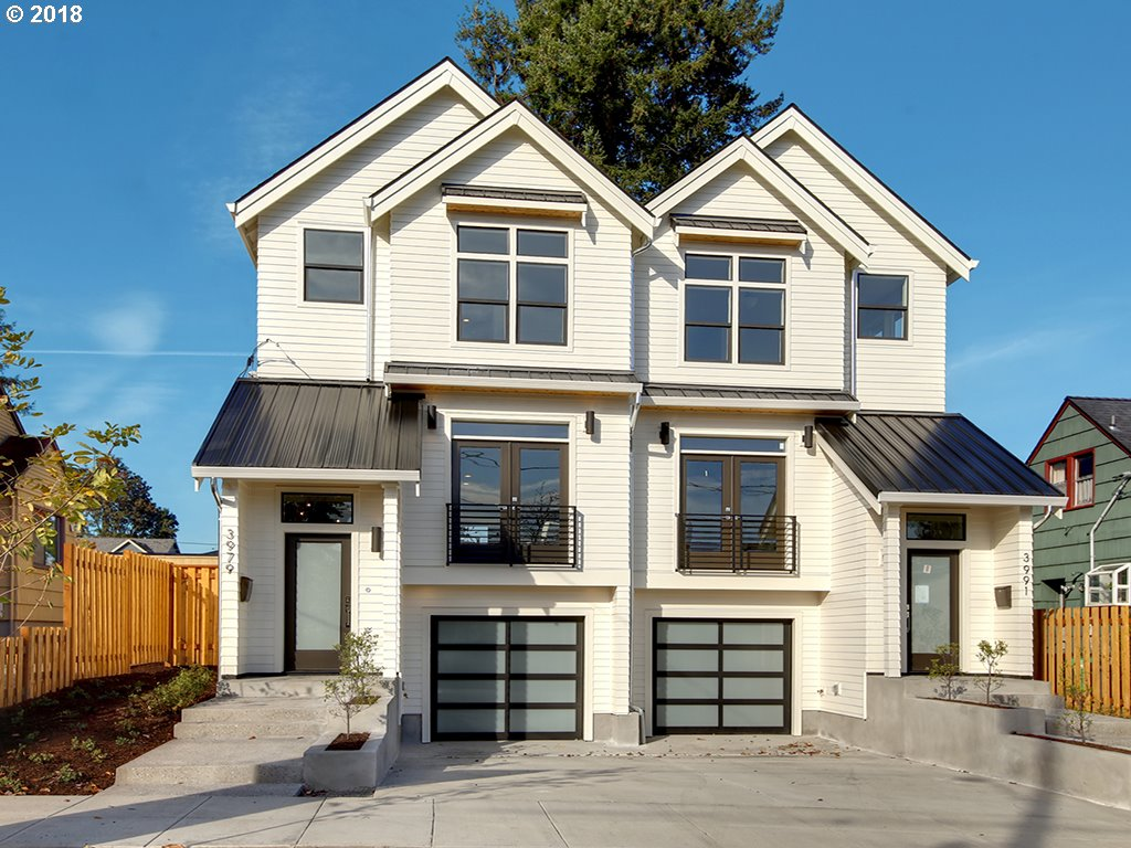 BRAND NEW CONSTRUCTION. Resembles Modern Farmhouse Architecture. Warm, welcoming and efficient with lots of natural light. Features gourmet kitchen with high-end S/S appliances, hardwood floors, tank less WH, high ceilings, dual master suites, covered patio, fenced yard, pre-plumbed for vac sys & A/C. Desirable pocket of NE Portland neighboring the happening Beaumont -Wilshire restaurant, coffee and bar scene. One block from Park.